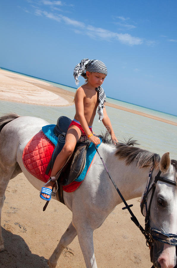 Menino em horseback foto de stock royalty free