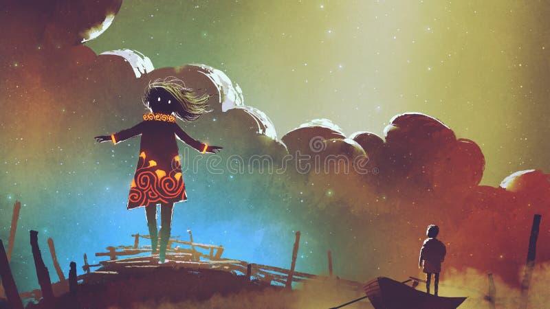 Menino em um barco que olha a menina da bruxa ilustração stock