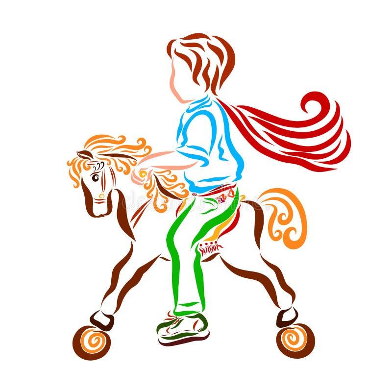 Menino em um cavalo do brinquedo, jogo ilustração stock