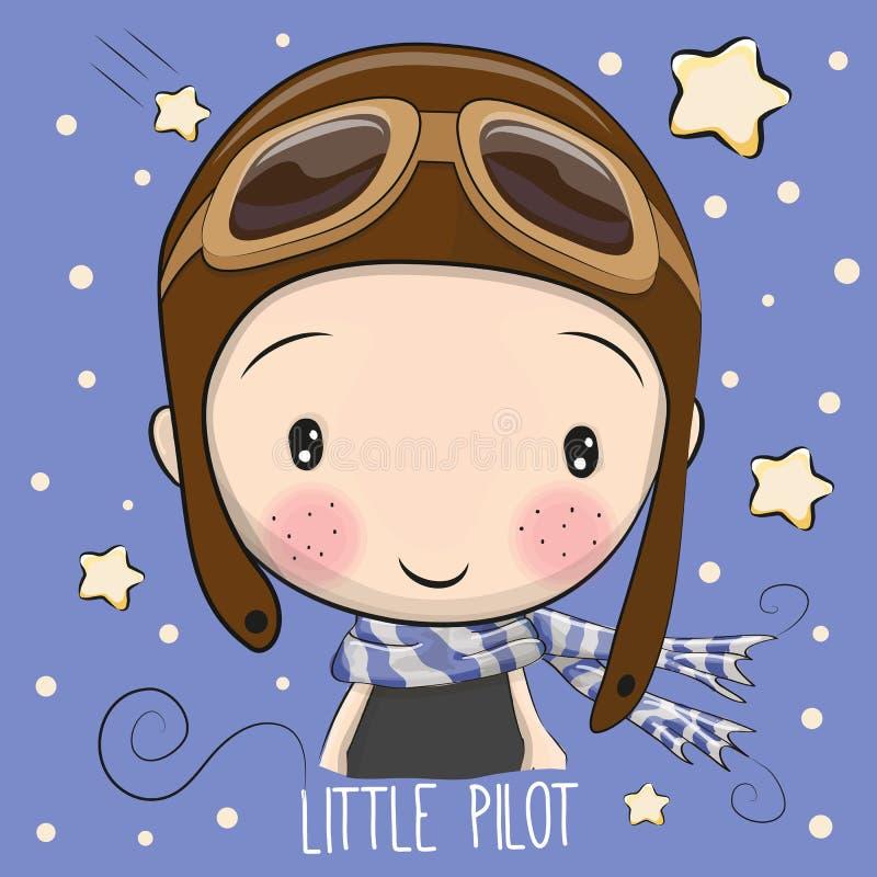 Menino em um chapéu piloto ilustração stock
