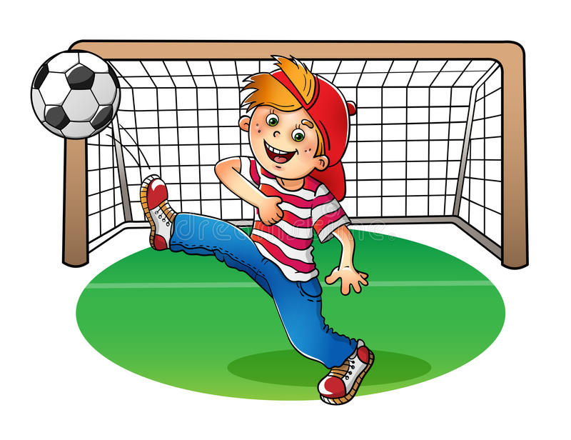 Menino em um tampão vermelho que retrocede uma bola de futebol ilustração do vetor