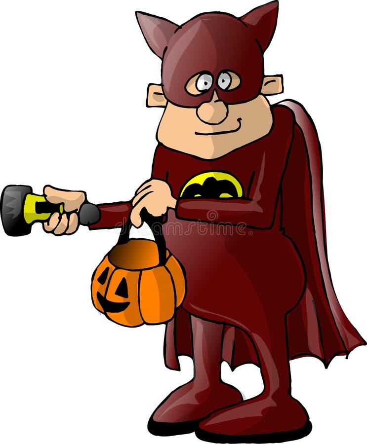 Menino em um traje do batman ilustração royalty free