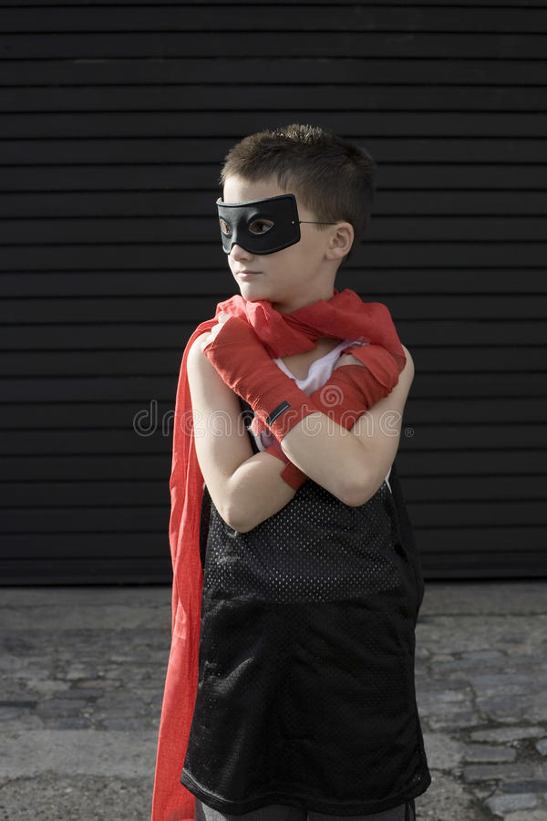 Menino em Zorro Costume foto de stock