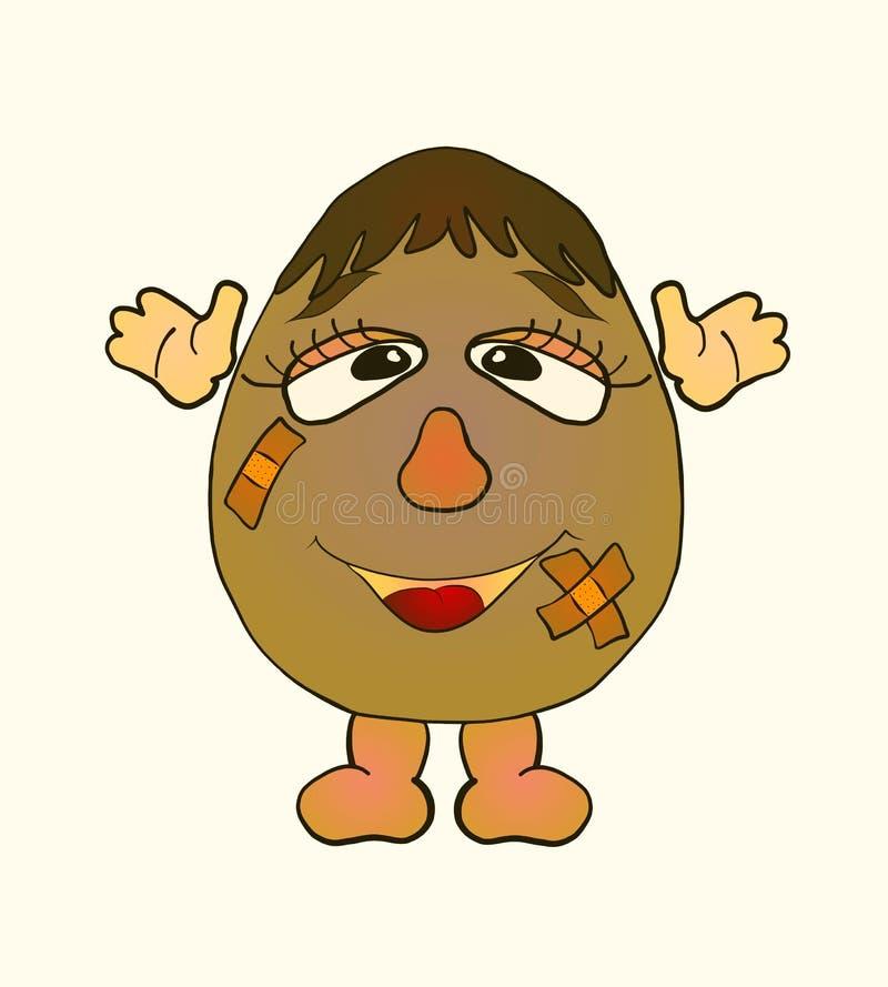 Menino engraçado do ovo com as feridas seladas com fita adesiva ilustração stock