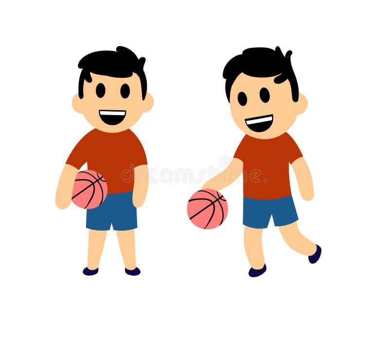 Menino engraçado dos desenhos animados que joga o basquetebol Grupo de dois caráteres Ilustração lisa do vetor Isolado no fundo b ilustração do vetor