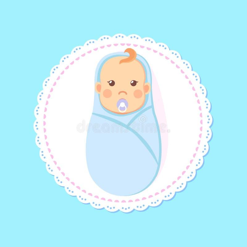 Menino envolvido cartão da festa do bebê com bocal ilustração stock