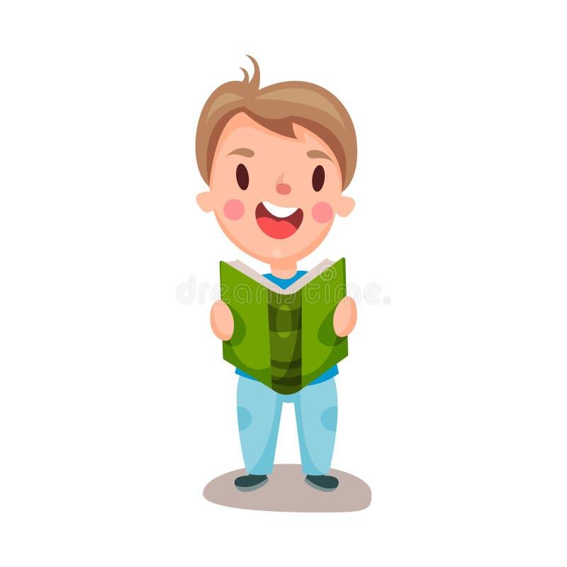 Menino feliz bonito que lê um conceito do livro, da educação e do conhecimento, ilustração colorida do caráter ilustração stock
