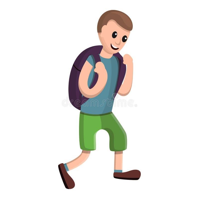 Menino feliz com ícone da trouxa, estilo dos desenhos animados ilustração royalty free