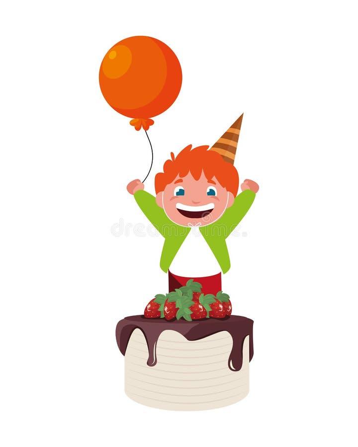 Menino feliz com bolo de aniversário ilustração royalty free