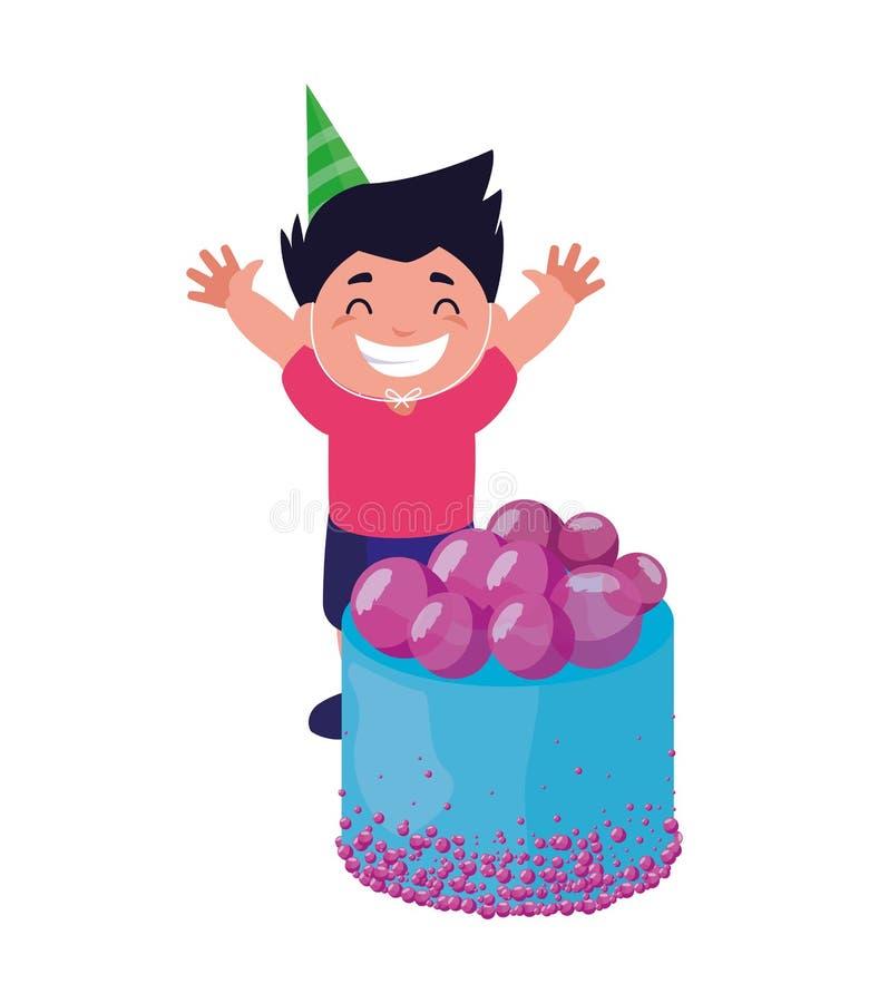 Menino feliz com bolo de aniversário ilustração stock