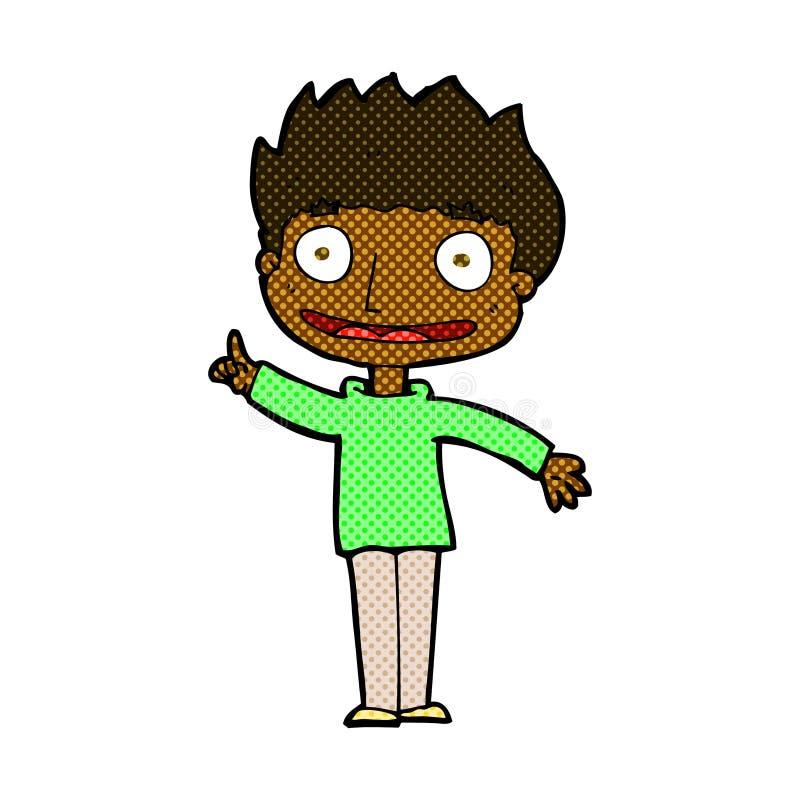 menino feliz dos desenhos animados cômicos ilustração royalty free
