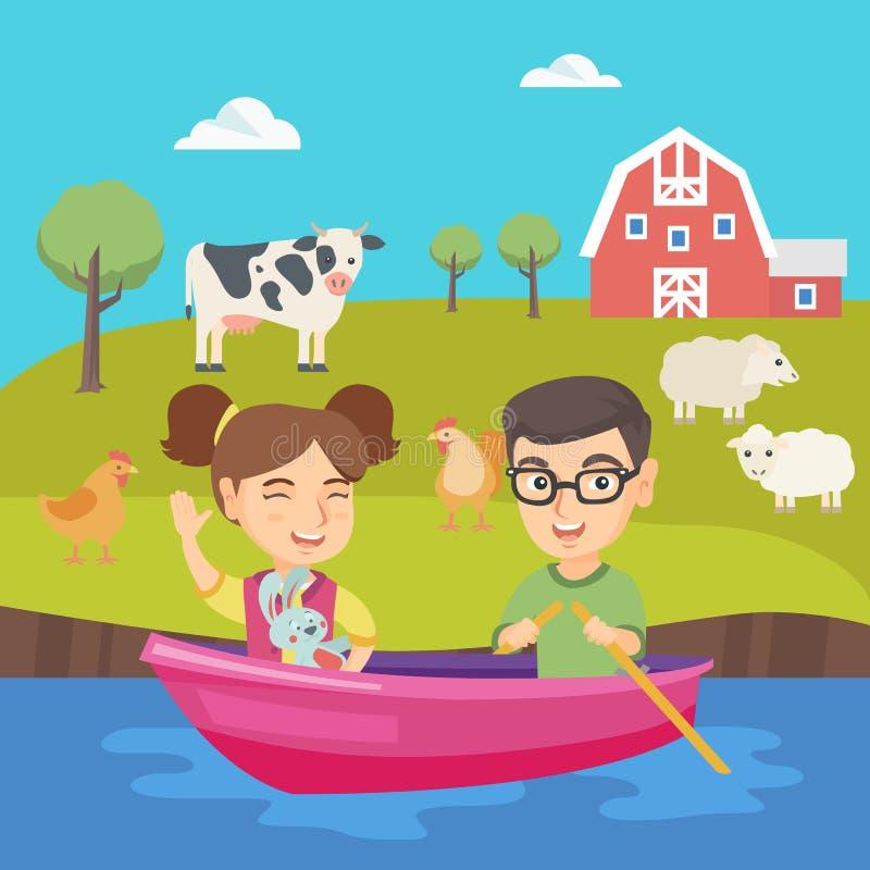 Menino feliz e menina caucasianos que viajam pelo barco ilustração stock