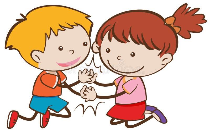 Menino feliz e menina da garatuja que jogam Patty Cake ilustração stock