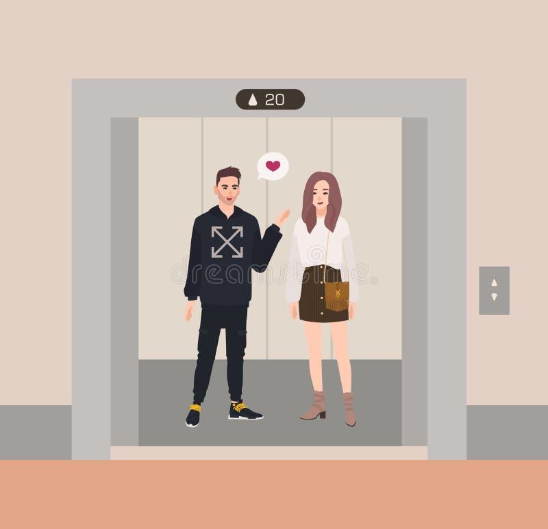 Menino feliz e menina ou sócios românticos que estão no elevador com estares abertos e que falam entre si Confissão do amor ilustração royalty free
