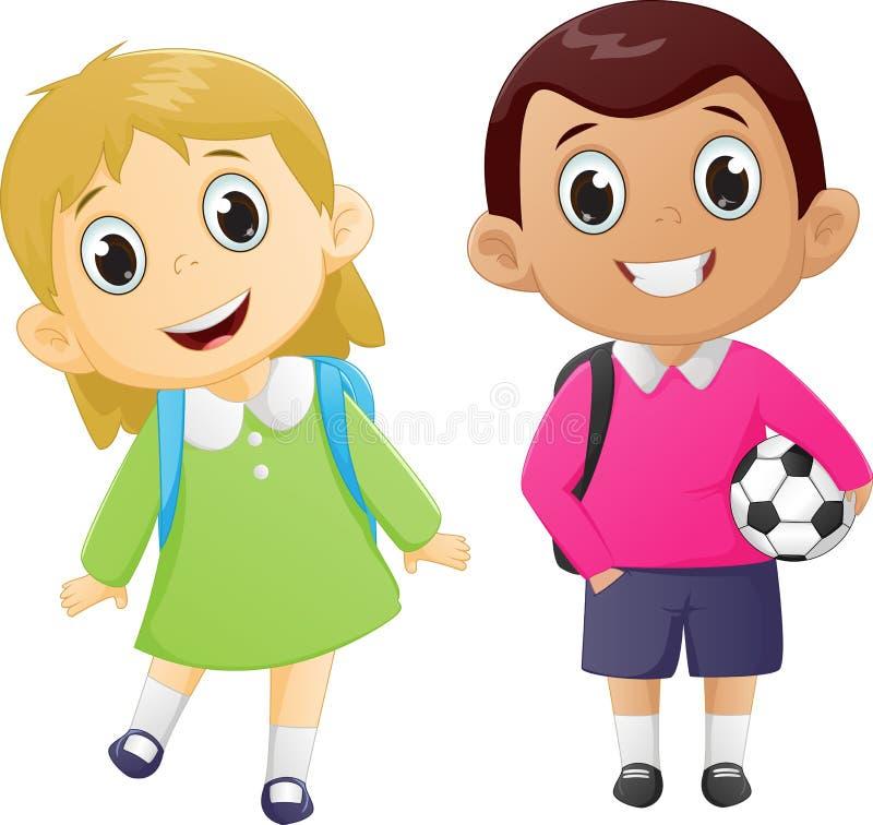Menino feliz e menina prontos para ir para trás à escola ilustração royalty free