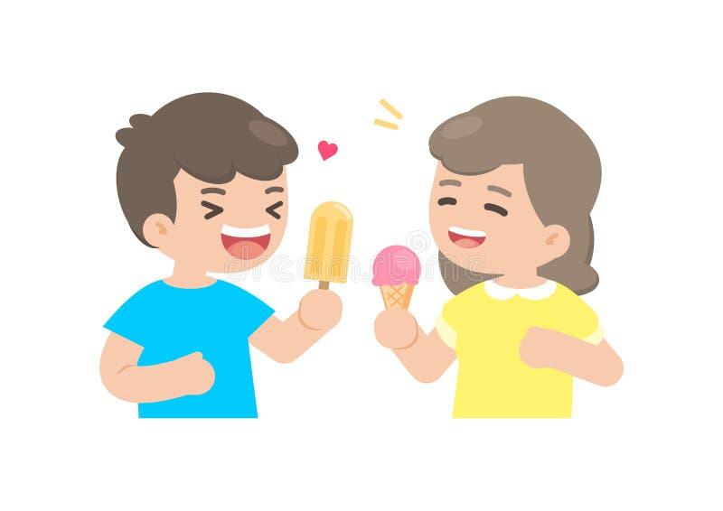 Menino feliz e menina que comem o gelado, apreciando a sobremesa, vetor IL ilustração royalty free