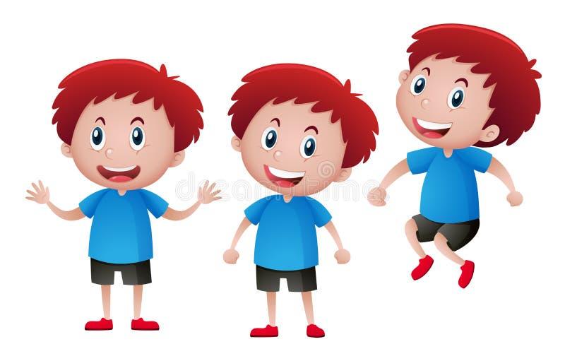 Menino feliz na camisa azul ilustração royalty free