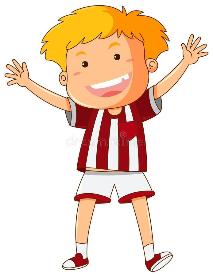 Menino feliz na camisa vermelha e branca ilustração do vetor