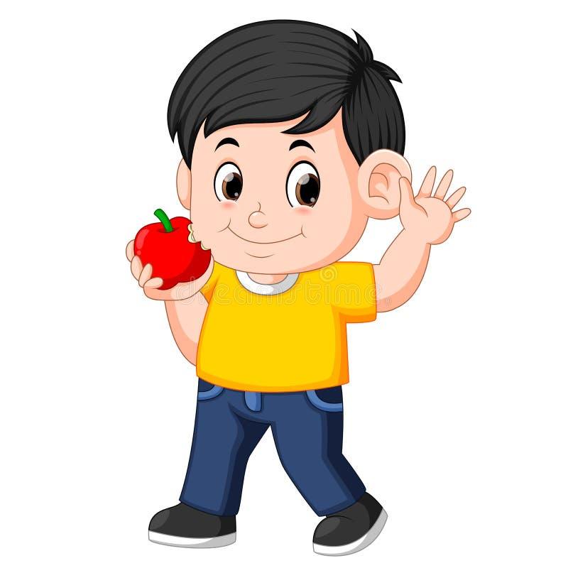Menino feliz que morde a maçã ilustração stock