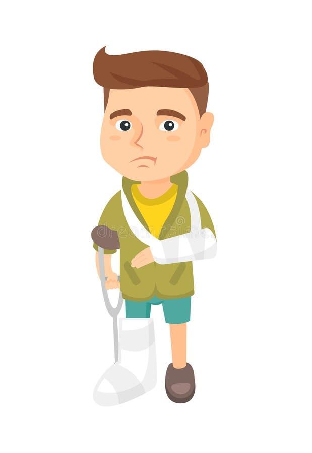 Menino ferido triste caucasiano com braço e pé quebrados ilustração do vetor