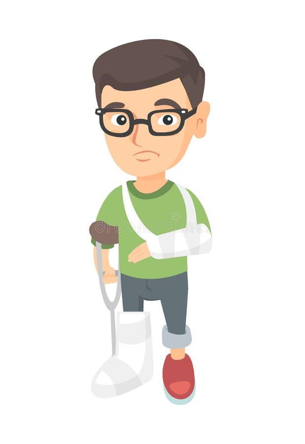 Menino ferido triste caucasiano com braço e pé quebrados ilustração stock