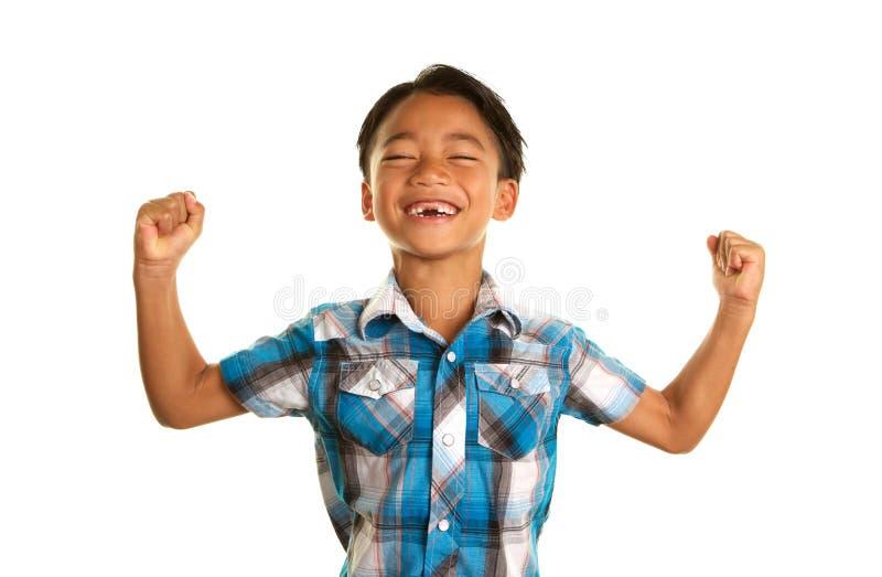 Menino filipino bonito no fundo branco e na expressão entusiasmado imagem de stock royalty free