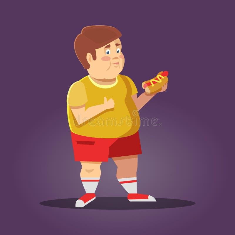 Menino gordo com fast food Comer insalubre ilustração do vetor