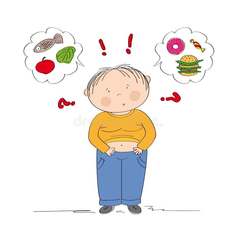 Menino gordo duvidoso que pensa do alimento, tentando decidir que comer ilustração royalty free