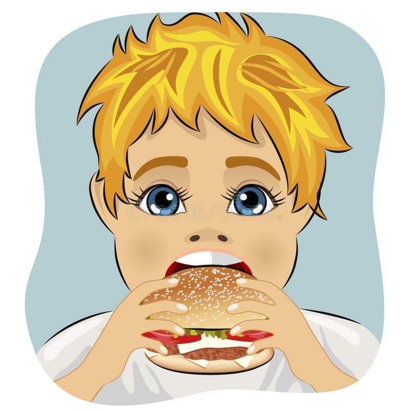 Menino gordo obeso que come o Hamburger do queijo da galinha ilustração do vetor