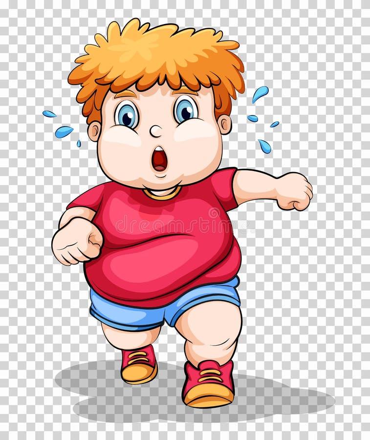 Menino gordo que corre no fundo transparente ilustração royalty free