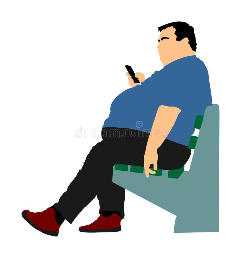 Menino gordo que sentam-se no banco no parque e fast food pedindo pelo telefone celular ilustração royalty free