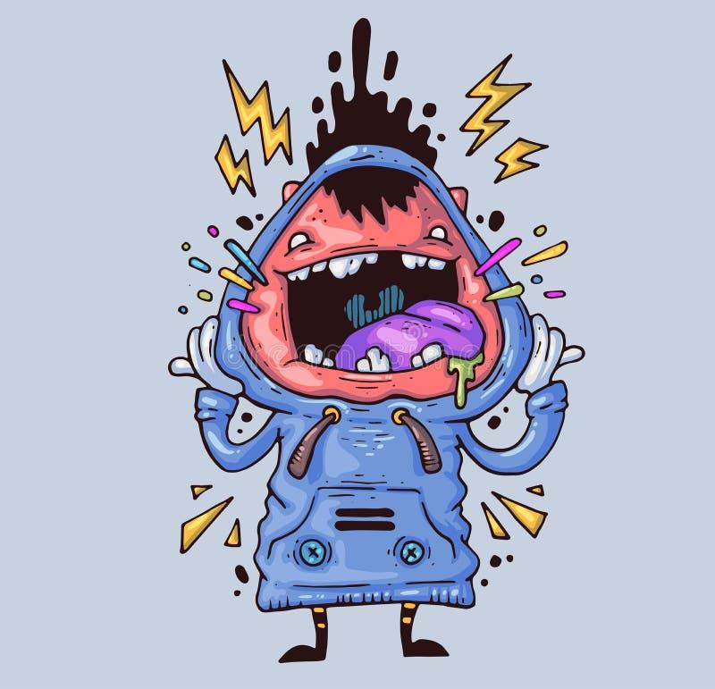 Menino gritando O indivíduo louco está gritando alto Ilustração dos desenhos animados para a cópia e a Web Caráter no gráfico mod ilustração stock