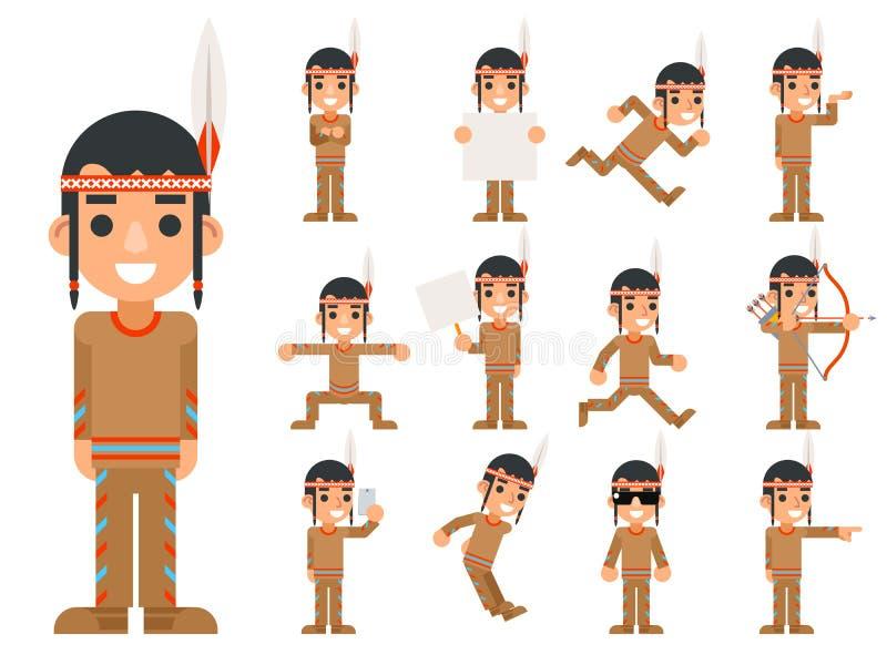 Menino indiano da pena tribal nativa tradicional americana vermelha da cultura em poses diferentes e em ícones adolescentes dos c ilustração stock
