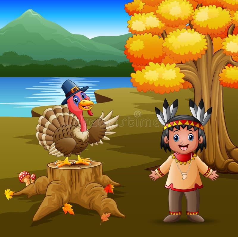 Menino indiano feliz com o pássaro do peru no jardim ilustração stock
