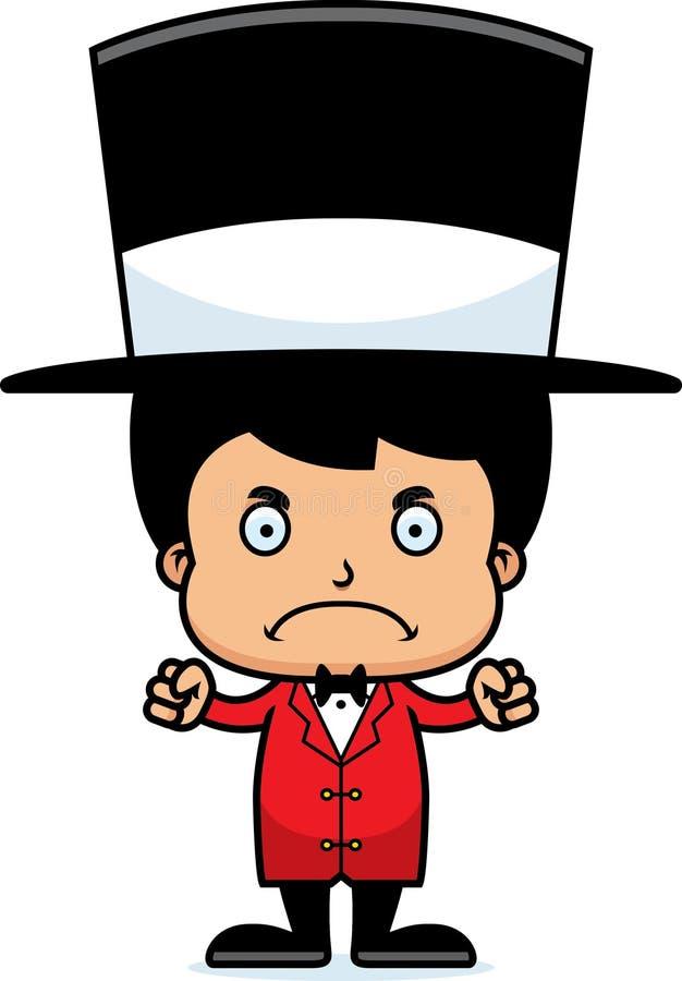 Menino irritado do diretor do circo dos desenhos animados ilustração do vetor
