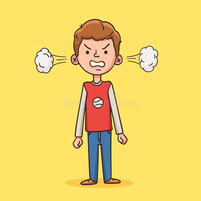 Menino irritado no estilo dos desenhos animados ilustração do vetor