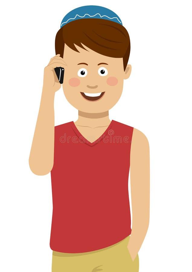 Download Menino Judaico Que Veste O Pacote Azul Que Fala No Telefone Ilustração do Vetor - Ilustração de fundo, sorriso: 107529444