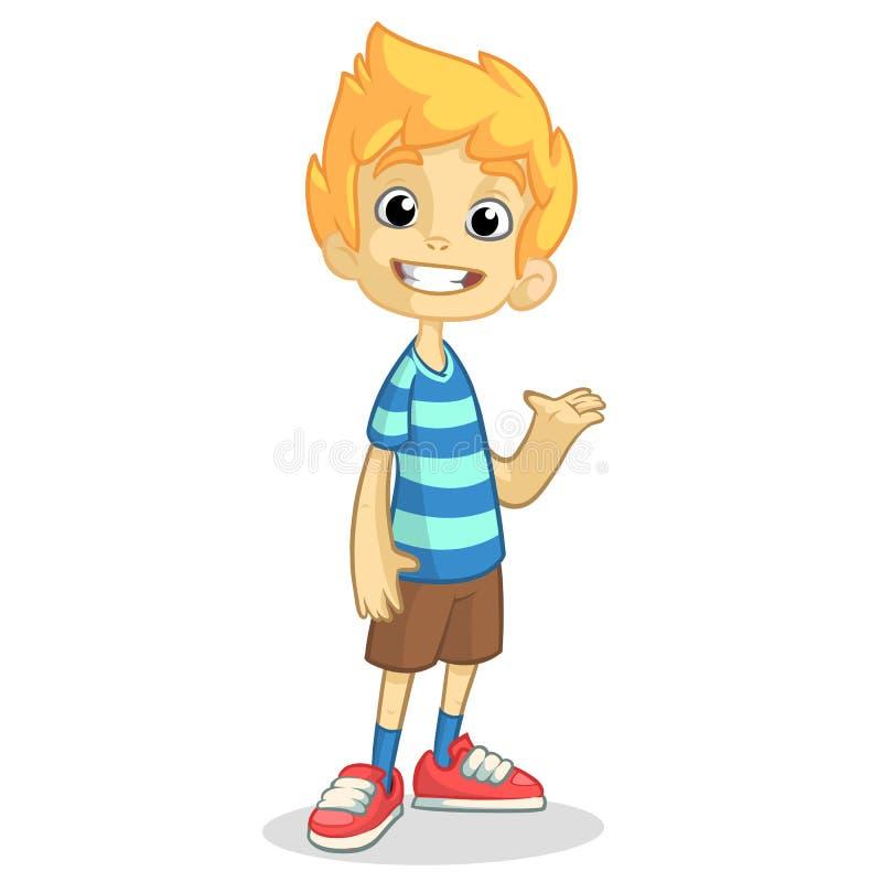 Menino louro bonito que acena e que sorri Vector a ilustração dos desenhos animados de um adolescente em uma apresentação azul li ilustração do vetor
