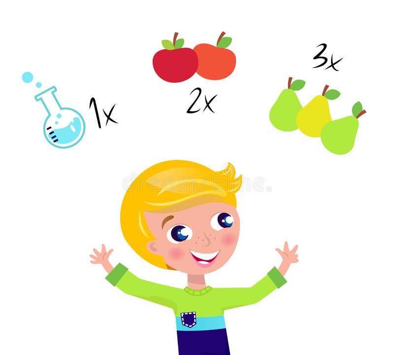 Menino louro bonito que aprende a matemática e a contagem ilustração stock