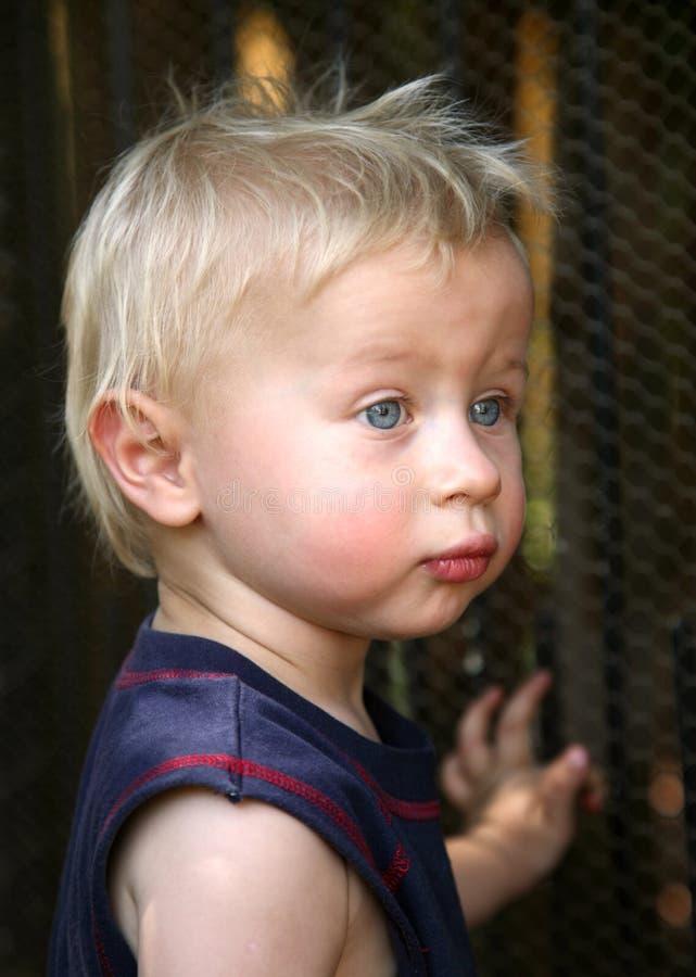 Menino louro com olhos azuis imagem de stock