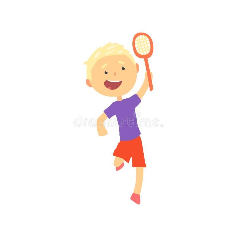 Menino louro de sorriso que joga o tênis ou o badminton, ilustração do vetor dos desenhos animados da atividade física das crianç ilustração do vetor