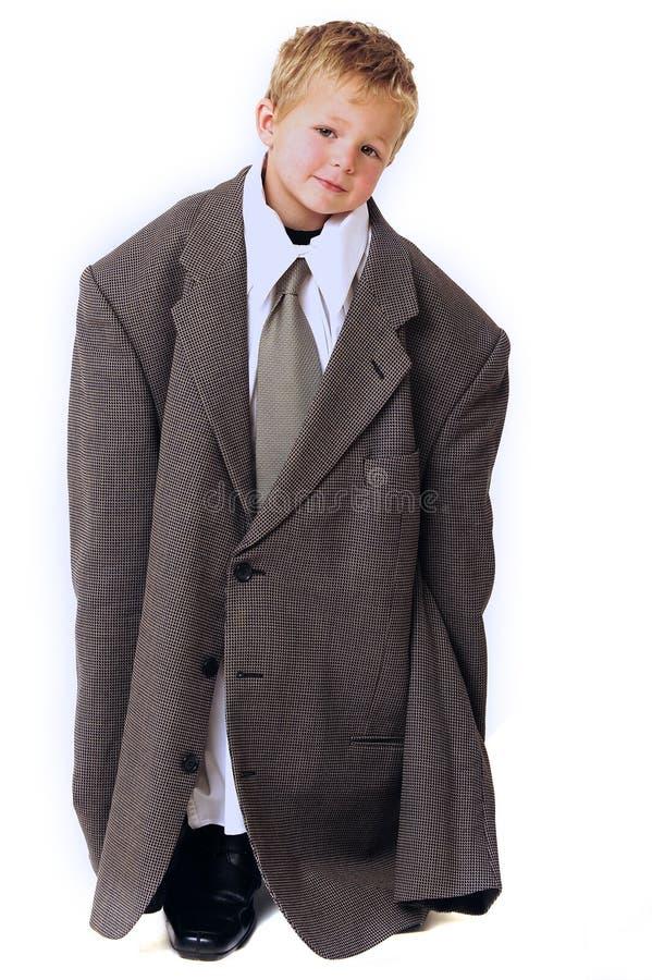 Menino louro na roupa do negócio fotografia de stock royalty free