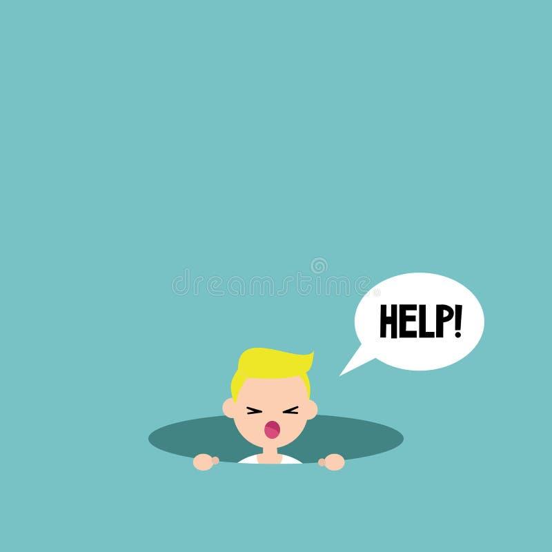 Menino louro novo que chama para a ajuda no poço/vect liso editável ilustração royalty free