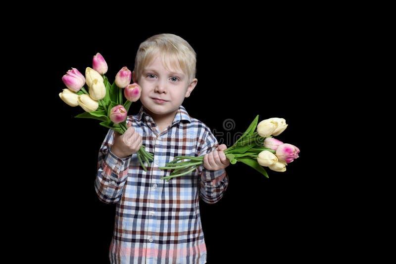 Menino louro pequeno que guarda dois ramalhetes das tulipas Retrato Isolado no fundo preto fotos de stock royalty free