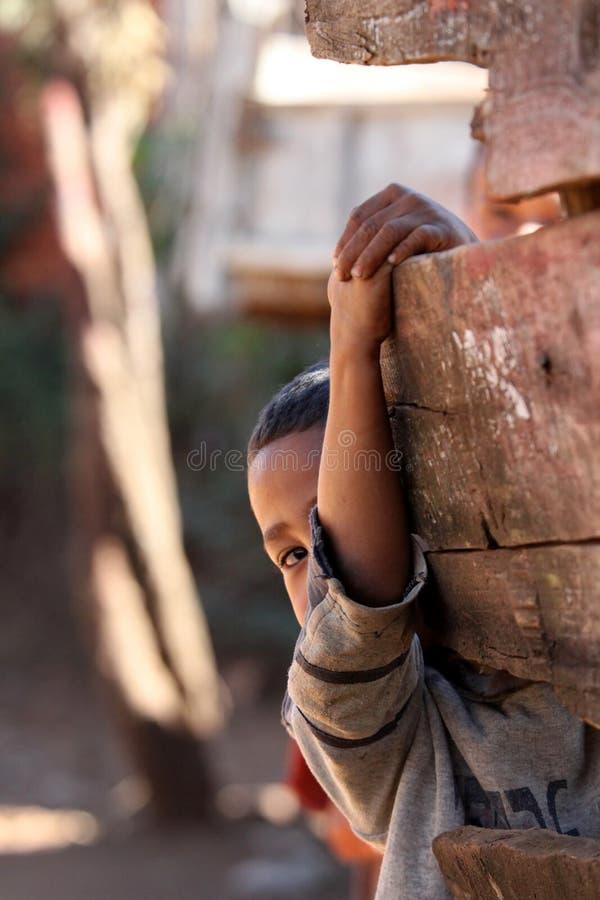 Menino malgaxe tímido fotos de stock