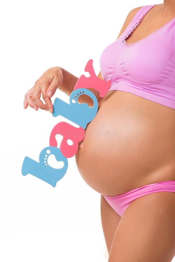 Menino, menina, ou gêmeos Determine o sexo do bebê durante a gravidez foto de stock