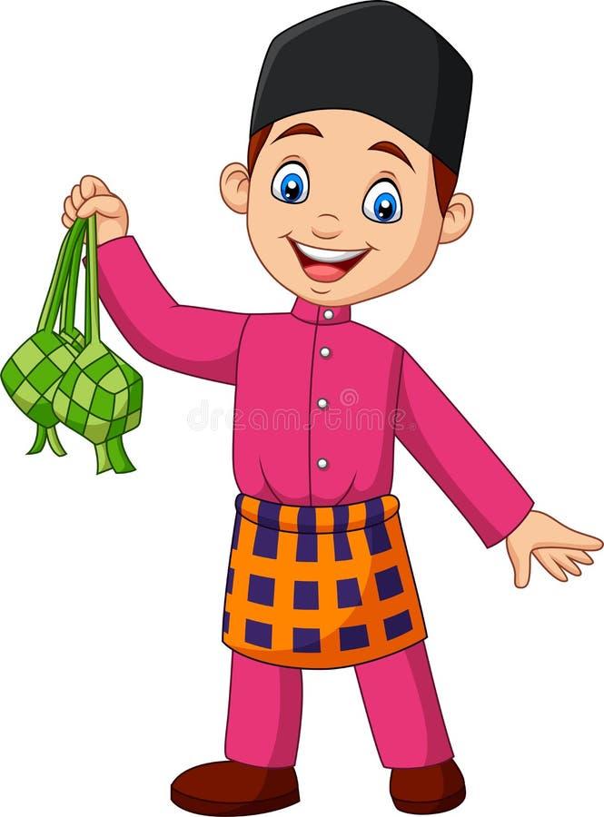Menino muçulmano bonito que guarda um ketupat ilustração do vetor