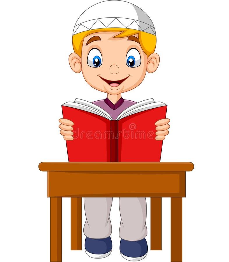 Menino muçulmano dos desenhos animados que lê um livro ilustração do vetor