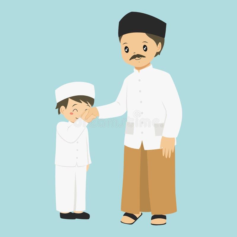 Menino muçulmano que beija o vetor da mão do seu pai ilustração do vetor