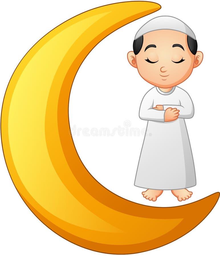 Menino muçulmano que reza na lua crescente ilustração stock
